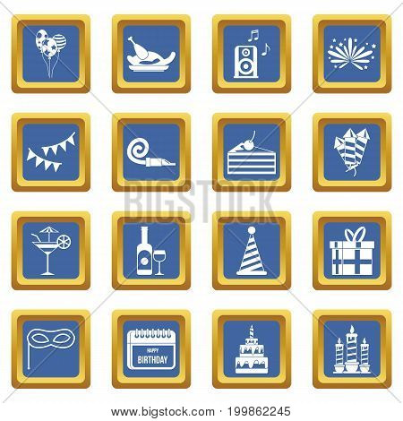 Happy Birthday icons set in blue color isolated vector illustration for web and any design