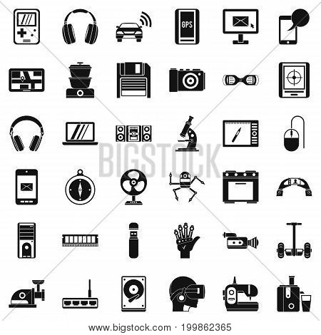 Device icons set. Simple style of 36 device vector icons for web isolated on white background