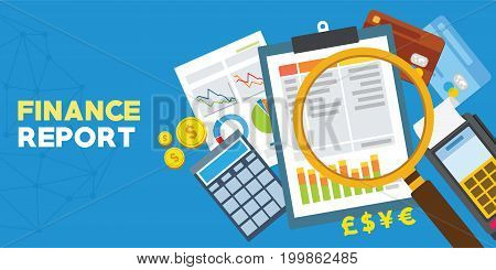 finance report and financial analysis vector illustration