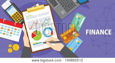 financial analysis with laptop and diagram illustration vector design