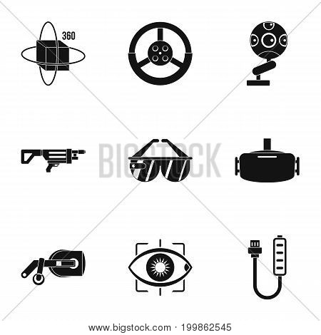 VR entertainment icons set. Simple set of 9 VR entertainment vector icons for web isolated on white background