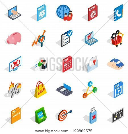 Storage icons set. Isometric set of 25 storage vector icons for web isolated on white background