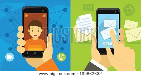video call and message from smartphone vector illustration