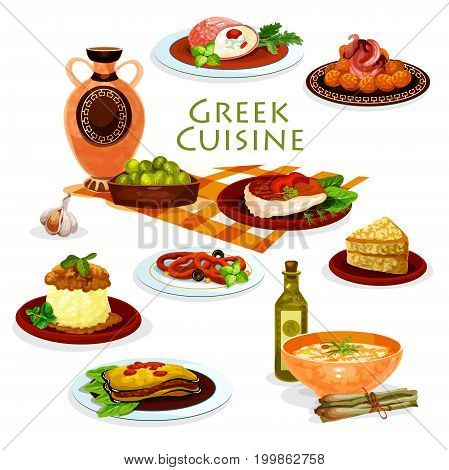 Greek cuisine healthy lunch dishes icon with vegetable casserole moussaka, meat roll with cheese, pickled olives, fried fish and squid rings, falafel, chicken stew, lentil soup and honey cake