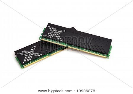 two RAM close up on white background poster