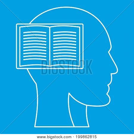 Profile head with book icon blue outline style isolated vector illustration. Thin line sign