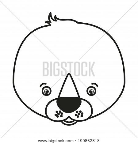 white background with monochrome silhouette caricature face seal vector illustration
