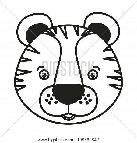 white background with monochrome silhouette caricature face tiger vector illustration