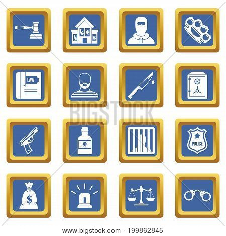 Crime and punishment icons set in blue color isolated vector illustration for web and any design