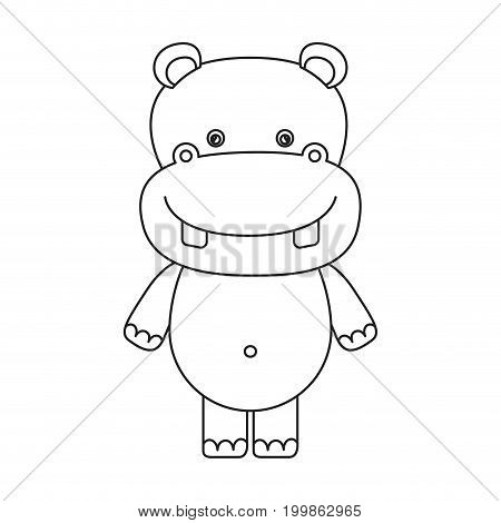 white background with silhouette caricature cute hippopotamus animal vector illustration