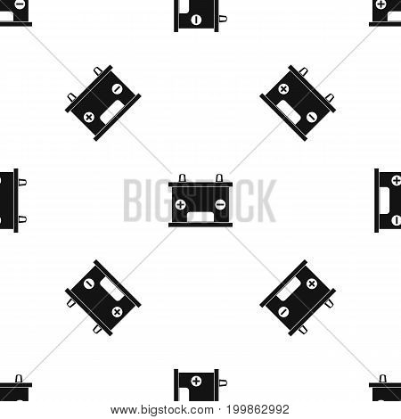 Electricity accumulator battery pattern repeat seamless in black color for any design. Vector geometric illustration