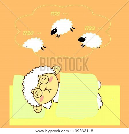 an illustration of sleeping sheep with a balloon of what he's counting while sleeping
