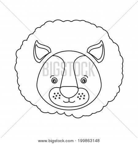 white background with silhouette caricature face lion cute animal vector illustration
