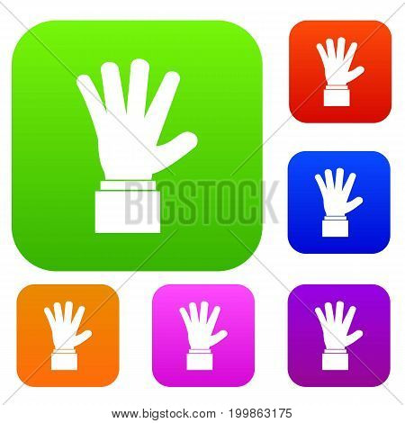 Hand showing five fingers set icon in different colors isolated vector illustration. Premium collection