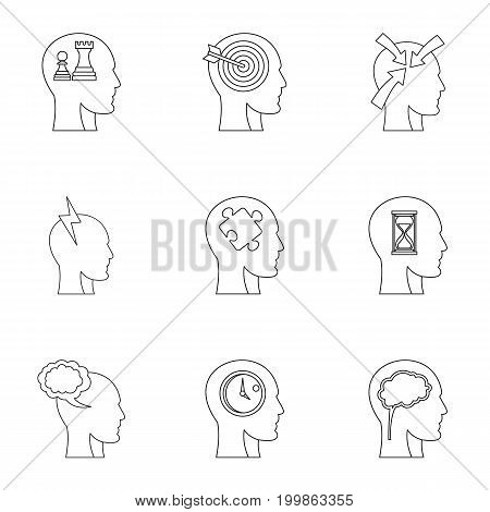 Head think icons set. Outline set of 9 head think vector icons for web isolated on white background
