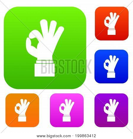 Ok gesture set icon in different colors isolated vector illustration. Premium collection
