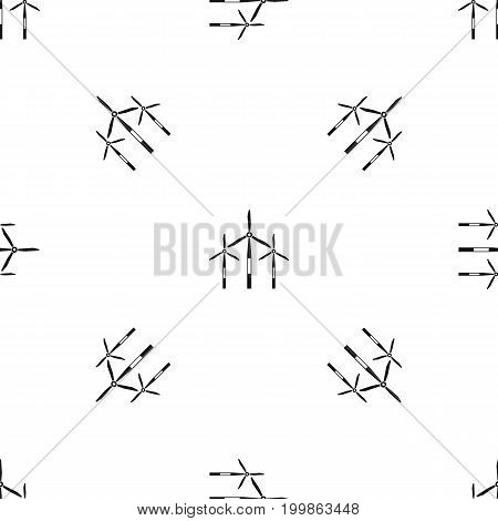 Wind generator turbines pattern repeat seamless in black color for any design. Vector geometric illustration