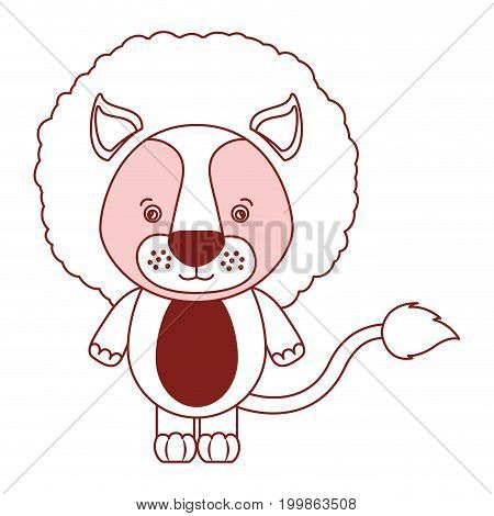 white background with red color silhouette sections of caricature cute lion animal vector illustration