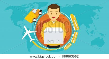 delivery service around the world vector illustration