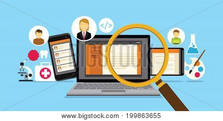 erecruitment websiter for online employee search vector illustration