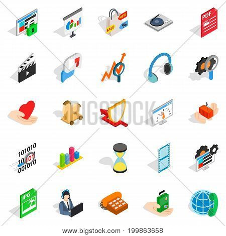 Projector icons set. Isometric set of 25 projector vector icons for web isolated on white background