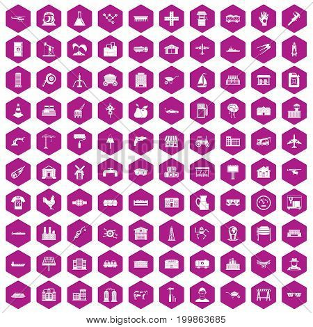 100 industry icons set in violet hexagon isolated vector illustration