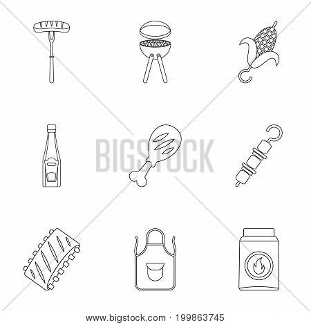 Barbecue equipment icons set. Outline set of 9 barbecue equipment vector icons for web isolated on white background