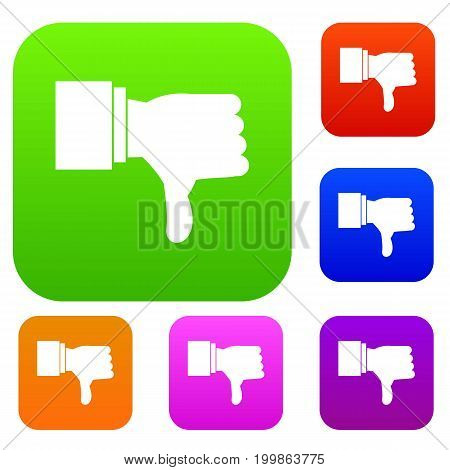 Thumb down gesture set icon in different colors isolated vector illustration. Premium collection