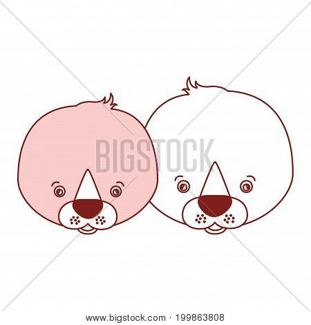 white background with red color silhouette sections of caricature face couple cute animal seals vector illustration