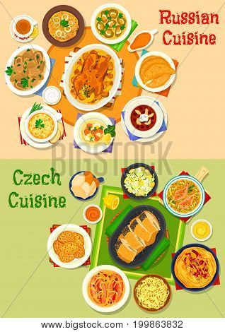 Russian and czech cuisine icon set. Baked meat and fish, vegetable soup and salad, pickled sausage, potato pancake, cabbage roll, mushroom dumpling, jellied fish, meat pie, bacon flatbread, ice cream