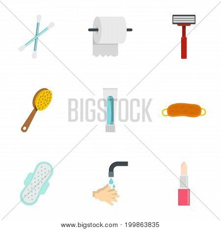 Bathroom icons set. Flat set of 9 bathroom vector icons for web isolated on white background
