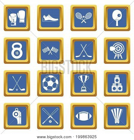 Sport equipment icons set in blue color isolated vector illustration for web and any design