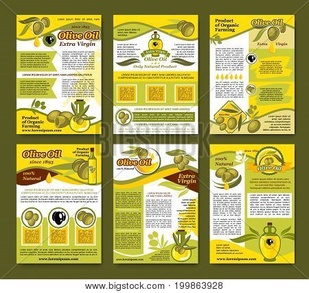 Olive oil organic farm product poster template set. Black and green olive fruit, bottle of extra virgin oil, olive tree branch badges with ribbon banner and text layout for healthy food themes design