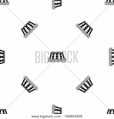 Hydroelectric power station pattern repeat seamless in black color for any design. Vector geometric illustration