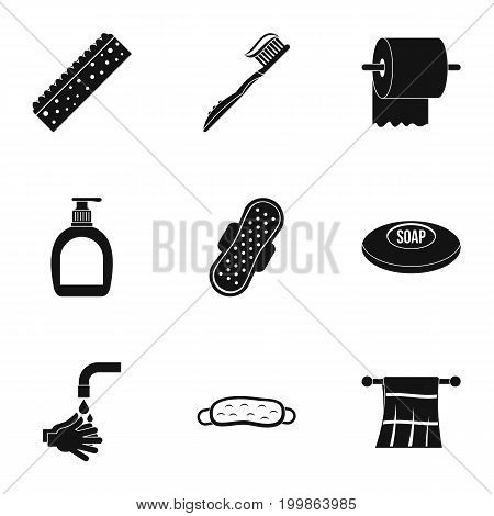 Bathroom icons set. Simple set of 9 bathroom vector icons for web isolated on white background