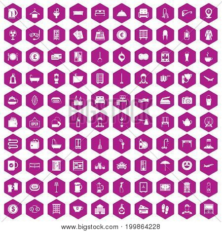 100 inn icons set in violet hexagon isolated vector illustration