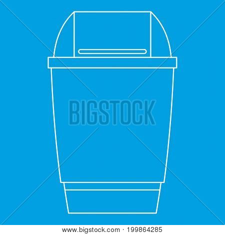 Dustbin icon blue outline style isolated vector illustration. Thin line sign