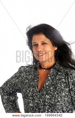Hispanic Female. Beautiful Hispanic Female with long black hair. Isolated on white with room for text.