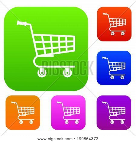 Shopping cart set icon in different colors isolated vector illustration. Premium collection