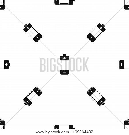 Alkaline battery pattern repeat seamless in black color for any design. Vector geometric illustration