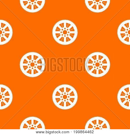 Sprocket from bike pattern repeat seamless in orange color for any design. Vector geometric illustration