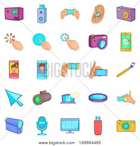 Cellphone icons set. Cartoon set of 25 cellphone vector icons for web isolated on white background