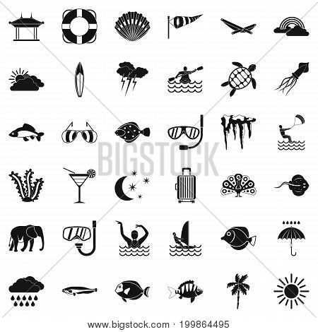 Diving icons set. Simple style of 36 diving vector icons for web isolated on white background