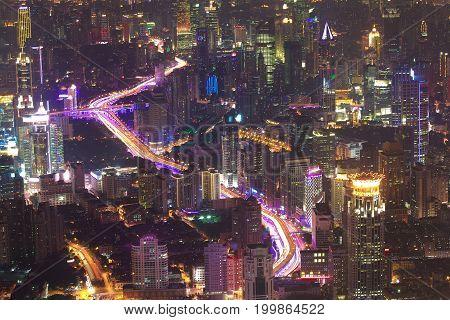 Aerial Photography At Shanghai City Landmark Buildings Of Night