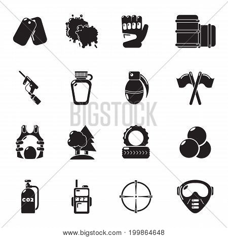 Paintball icons set. Simple illustration of 16 paintball vector icons for web