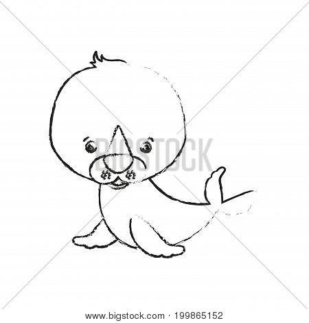 blurred silhouette caricature cute seal aquatic animal vector illustration