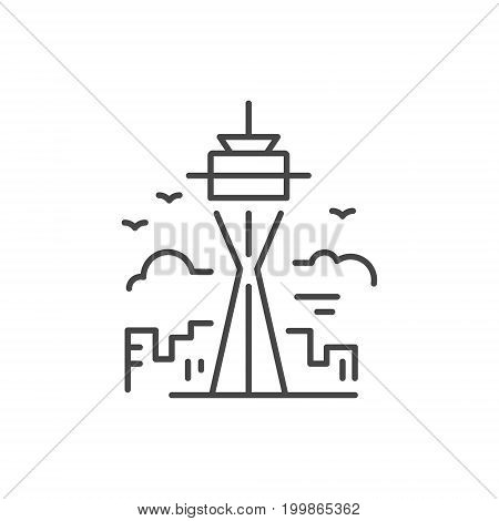 Linear illustration of a tower. Vector line style icon.