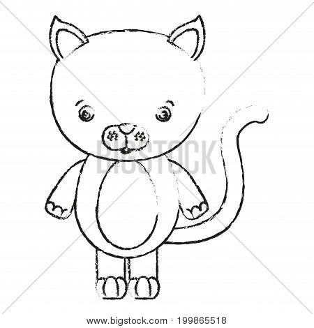 blurred silhouette caricature cute cat animal vector illustration