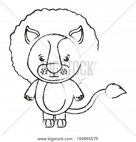 blurred silhouette caricature cute lion animal vector illustration