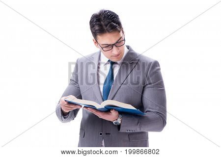 Businessman student reading a book isolated on white background